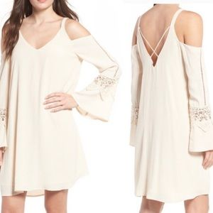 ASTR Cold Off Shoulder Cream Crochet Bell Sleeve
